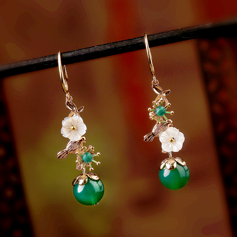 925 Earrings High Handmade Accessories Quality Jewelry Earring For Women Flower Vintage Wedding Jewelry alloy pair of vintage alloy emboss beads triangle earrings for women