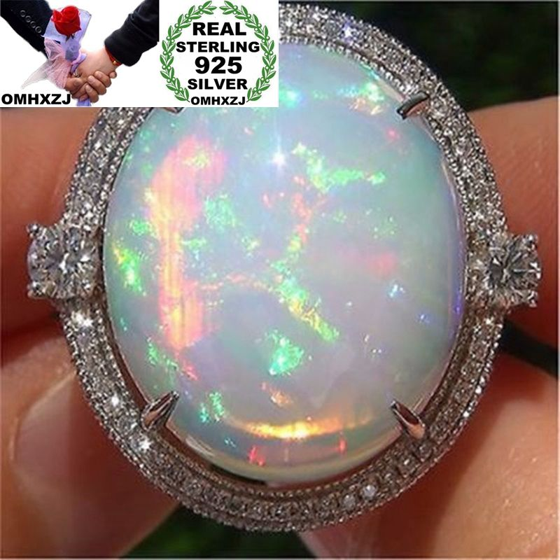 OMHXZJ Wholesale European Fashion Woman Man Party Wedding Gift White Round Opal AAA Zircon 925 Sterling Silver Ring RR87