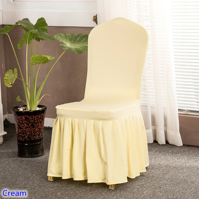 cream chair covers for weddings hire of with skirt all around colour spandex sale 220grams high quality banquet wedding and hotel