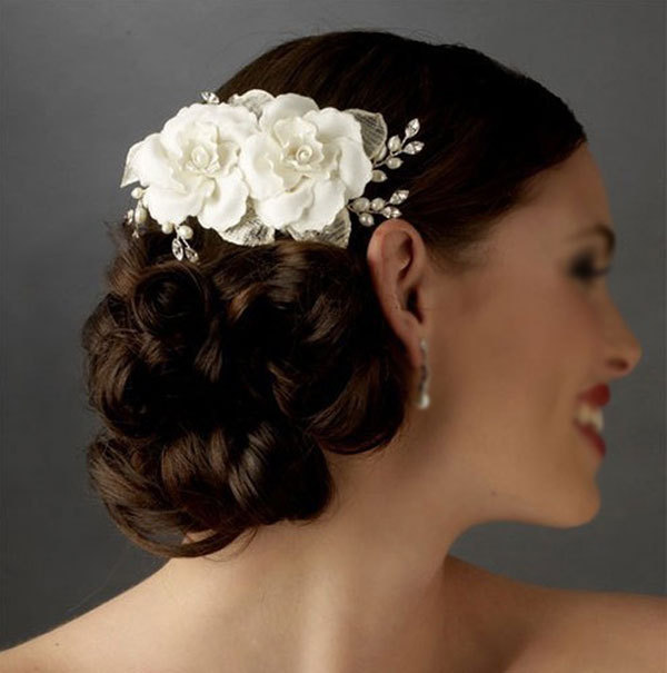 Elegant Soft Pearl Short Bride Barrettes Hair Accessory Fabric Flower Wedding Clip Comb Tiara Ivory In Jewelry From