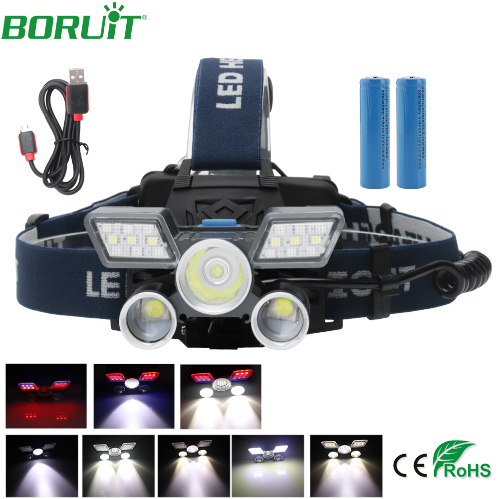 BORUiT L2 LED Headlamp Flashlight USB Rechargeable Lanterns Camping Hunting Fishing Head Torch Light Red Blue Warning LampBORUiT L2 LED Headlamp Flashlight USB Rechargeable Lanterns Camping Hunting Fishing Head Torch Light Red Blue Warning Lamp