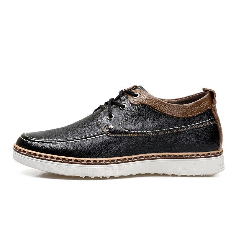 De Elevador navy Casuais Centímetros Couro Invisible Homens Altura Vanmie Genuíno brown Preto 6 Sapatos Crescente Black wx4tH