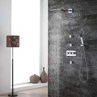HIDEEP Bathroom Shower Mixer Set 20x25cm Rain Waterfall Shower Head Chrome Brass Wall Mounted Shower Faucet Set