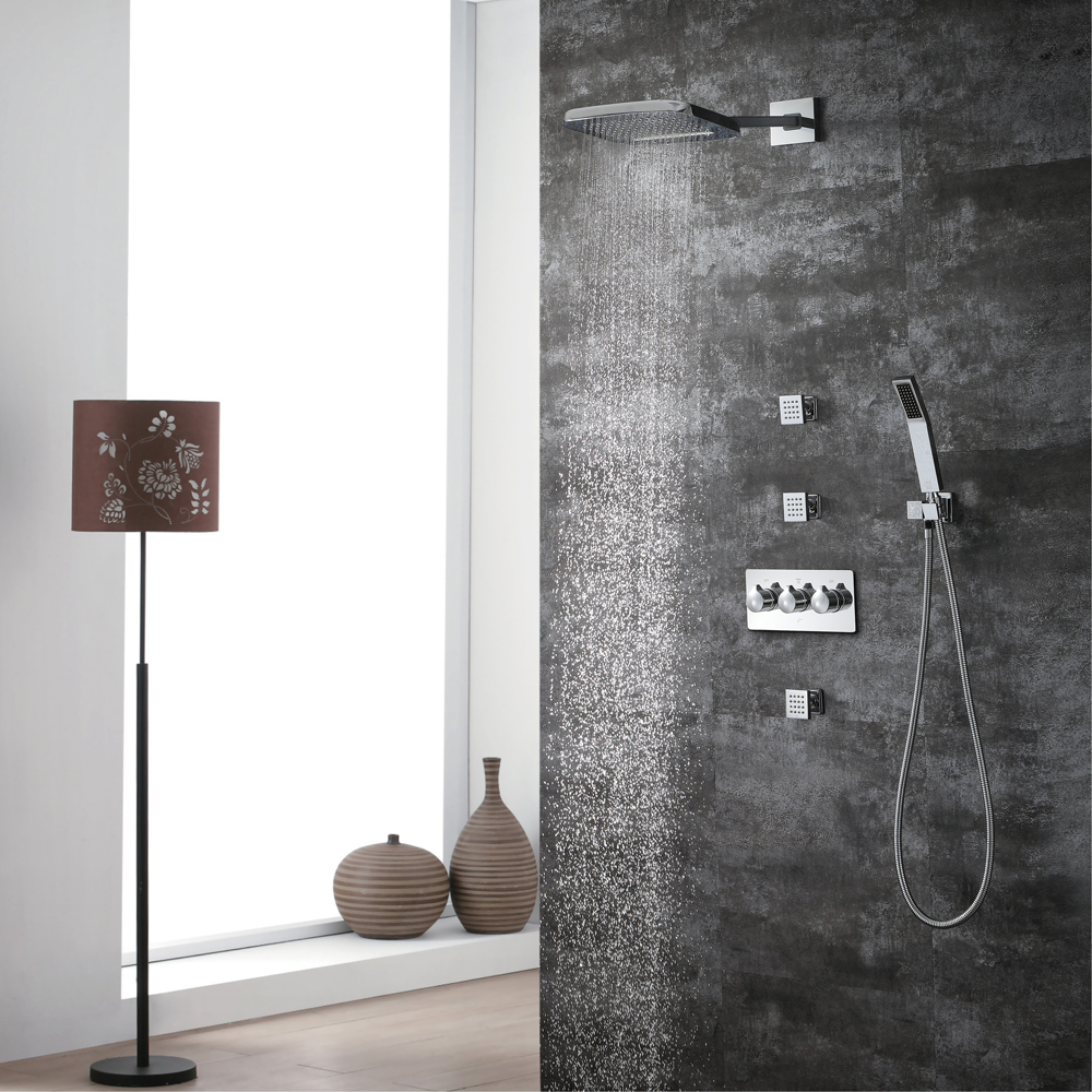HIDEEP Bathroom Faucet S Set Chrome Finish Brass Made Shower Set Faucet Large Amount Water Installt On The Wall