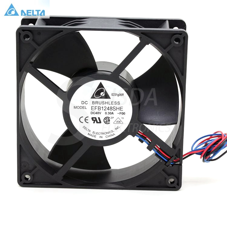 Delta EFB1248SHE -F00 DC48V 0.30A 3-wire 120x120x38mm 120mm 12cm server inverter cooling fans free shipping for delta efb0612ha f00 dc 12v 0 18a 3 wire 3 pin 120mm 60x60x10mm server square cooling fan