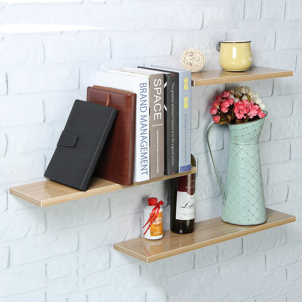 3 Teile/satz Holz Wandregal Bücherregal Vase Display Rack Halter ...