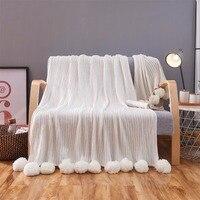 100% Algodão de Malha Pompom suave quente Sala de Estar Sofá Cama Couch Tampa com Pom Poms Bola Cochilo Cobertor Lance Colcha 150x200 cm