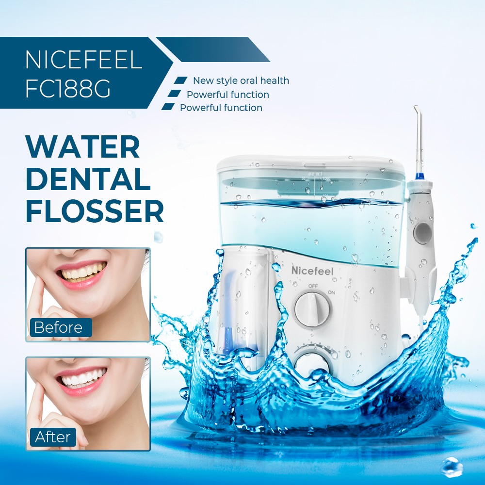 Nicefeel 1000ML Water Dental Flosser Electric Oral Irrigator Care Dental Flosser Water Toothbrush Dental SPA with 7pcs Tips-in Oral Irrigators from Home Appliances    1