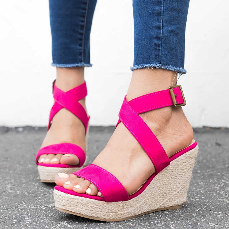 faed5c81e34af ... COSIDRAM Summer Women Sandals New 2018 Fashion Platform Shoes Sexy  Solid Female Women Wedge Heels Shoes ...