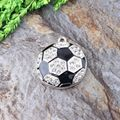 Free Shipping New Arrive 10Pcs/Lot Silver Football Rhinestone Pendant For Chunky Kid's Necklace Making
