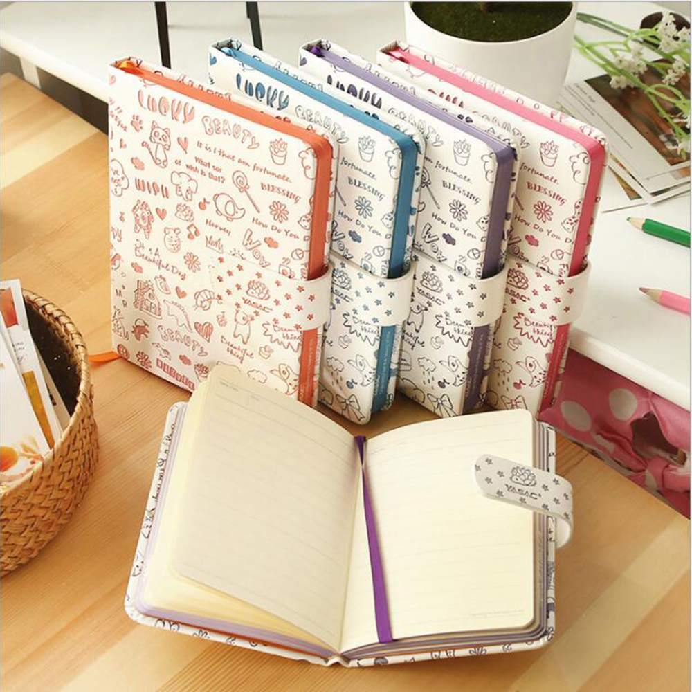 Lucky Beauty Cute Faux Leather Planner Cartoon Kawaii Line Normal Office School Notebook Daily Schedule Hard Copybook Agenda lucky goes to school