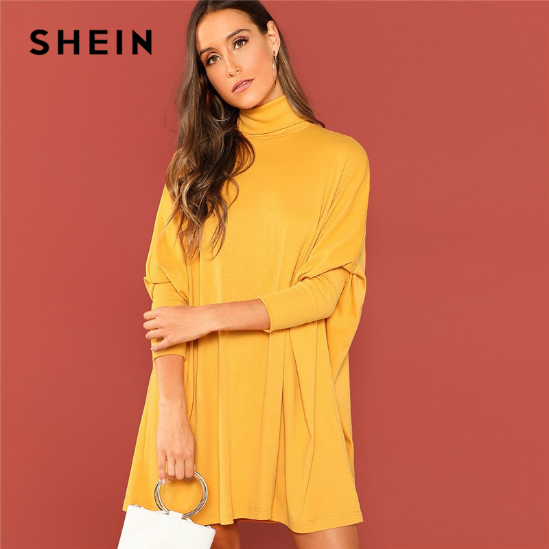 SHEIN Ginger Turtle Neck Tassel Detail Cape Dress Casual High Neck Long Sleeve Straight Short Dresses Women Autumn Elegant Dress