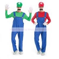 Game Super Mario Luigi Brothers Fancy Look Party Costume Carnival Halloween Costume Men Adult Full Set