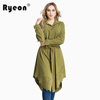 Ryeon Shirt Dress Plus Size Autumn Spring Casual Women Dress Big Size Cut Out Long Sleeve