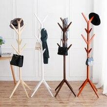 Creative 8 Hook Tree Shape Solid Wood Coat Storage Rack Display Stand Hanging Scarves Hat Bag