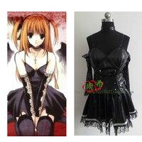 2017 Death Note Misa Amane Imitation Leather Dress Sexy Uniform Cosplay Costumes(No Sockings)