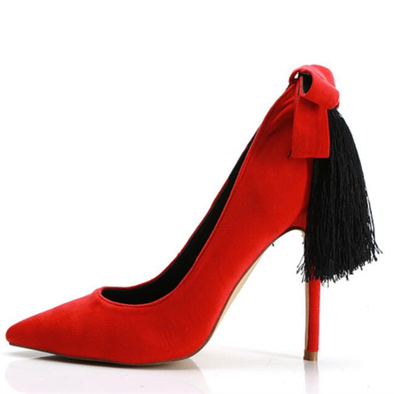 New sexy pointed toe women pumps red suede embellished bow-tie and tassel thin high heels bridal wedding party prom shoes woman недорго, оригинальная цена
