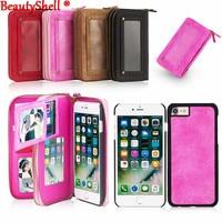 Multifunktions Brieftasche PU Ledertasche Für iPhone7 7 Plus 6 S 6 Plus 5 S SE Doppel-reißverschluss Geldbörse Pouch Phone Cases Dame Handtasche abdeckung