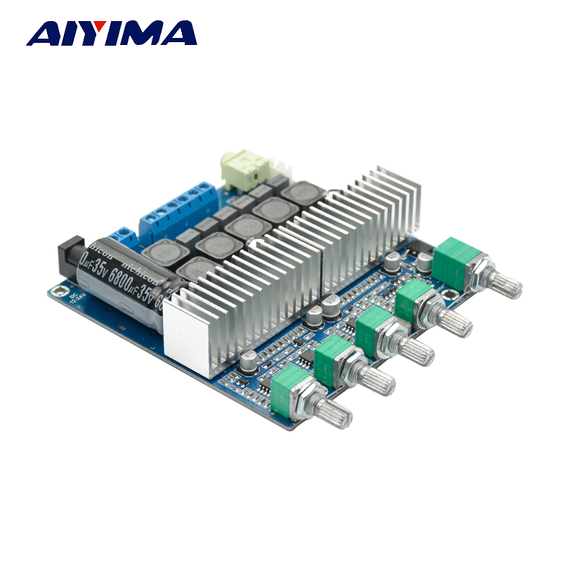 Aiyima Assembled HIFI digital power amplifier TPA3116D2 2.1 high-power board 12-24V subwoofer bass board new arrival tpa3116d2 50wx2 100w 2 1 channel digital subwoofer amplifier board 12v 24v power free shipping