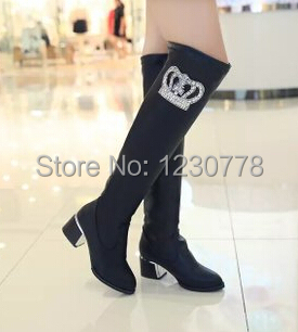 d2e92ed30ea Fashion autumn winter diamante women round toe knee high boots wedge  platform slip on martin boots size 39 free shipping-in Knee-High Boots from  Shoes on ...
