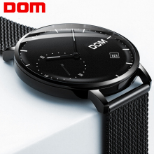 DOM Fashion Mens Watches Top Brand Luxury Quartz Watch Men Casual Slim Mesh Steel Date Waterproof Sport Relogio Masculino