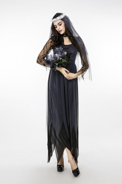 black corpse bride vampire witch dress halloween costumes cosplay