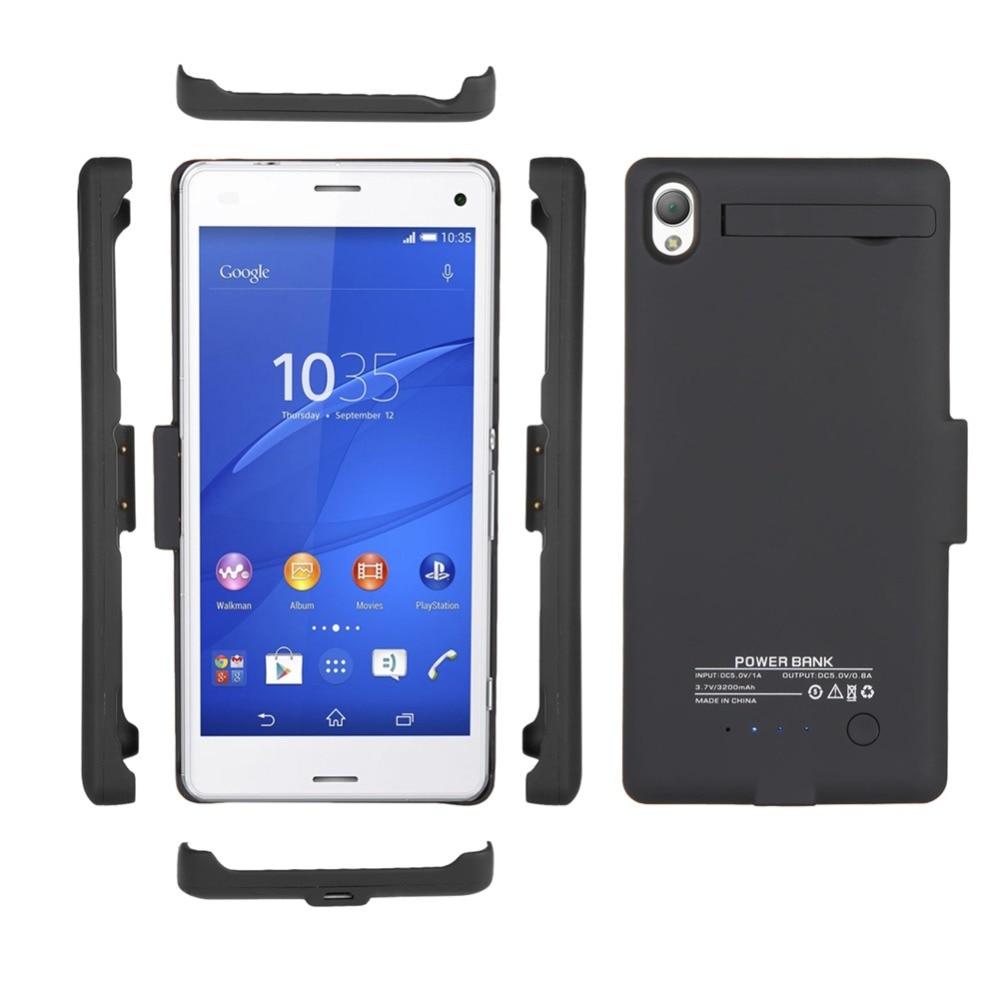 bilder für Für Sony Xperia Batteria Z3 Schwarz/Weiß 3200 mAh Externe Unterstützungsladegerät mit Standplatz-abdeckung Energienbank Fall telefon Batterien