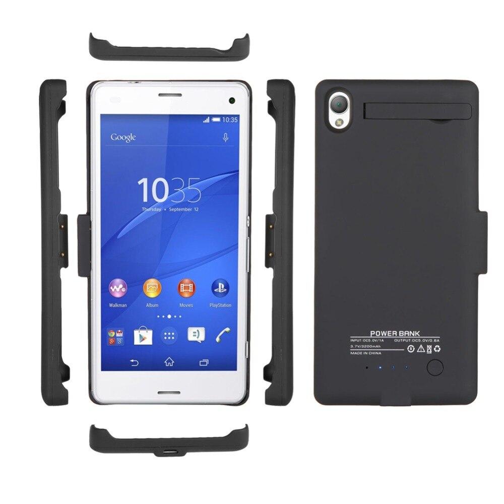 Цена за Для Sony Xperia Batteria Z3 черный/белый 3200 мАч внешний зарядное устройство резервного копирования с подставкой Крышка Power Bank Дело телефон батареи