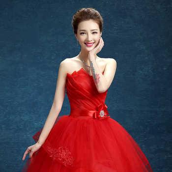 4 Design Fashion Classic 2020 New Strapless Cheap White Pink Red Embroidery Wedding Dress Romantic Bride Dress Vestidos De Noiva
