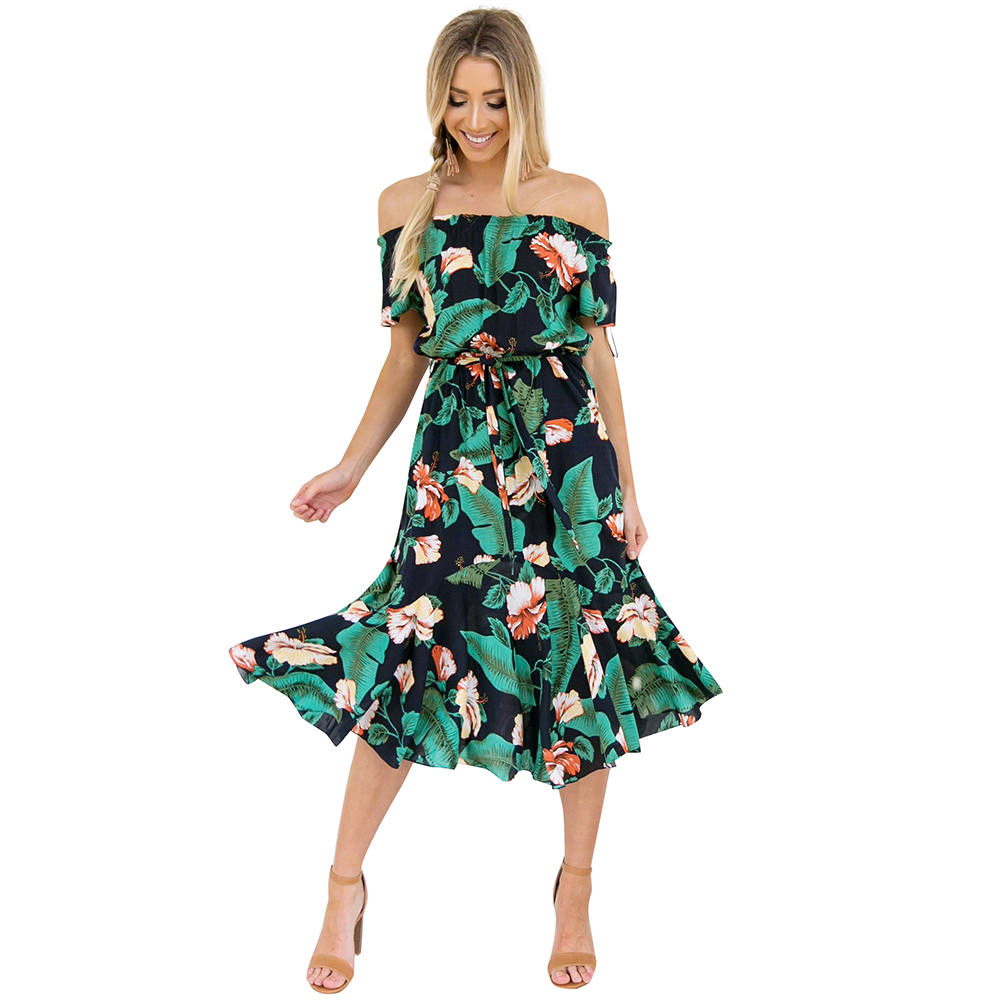 Sexy Women Floral Print Summer Dress Off The Shoulder Midi