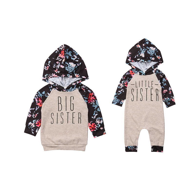 Sister Family Clothes Kids Floral Hooded Sweatshirt Baby Girl Long Sleeve Romper Outfit