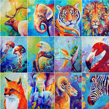 Full round diamond 5D DIY painting Colorful animal 3D cross stitch oil mosaic decoration gift