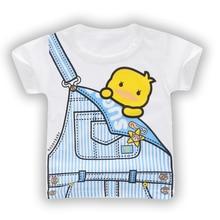 Children Summer 2019 Cute Baby Short Sleeve T-shirt for Boy Girl Tops Toddler Tshirt Shark Bunny Giraffe Animal Printed White t shirt bunny white