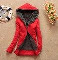 Mulheres quentes Engrossar Mais Quentes Hoodies Camisolas de Lã Feminino Casaco Outerwear Jaqueta Casual Meninas Outono/Inverno Moda Pulôver