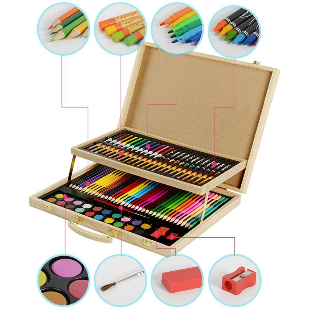 hysung art set for kids 108 piece for sketching and drawing with wood case drawing tool childing. Black Bedroom Furniture Sets. Home Design Ideas