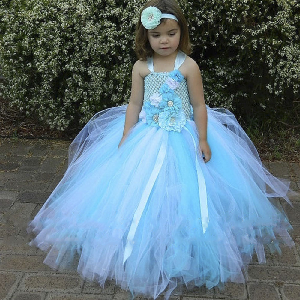 Beach Wedding Flower Girl Tulle Tutu Dress Blue Ocean Toddler Girls Bridesmaid Tutu Dresses For NB Kids Birthday Photo Props flower girl tutu dress peach coral flower tulle dress floor length kids tutu dress for wedding birthday party photo ts075