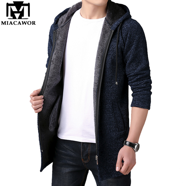 MIACAWOR ยี่ห้อเสื้อกันหนาวผู้ชาย Hooded Cardigan ผู้ชายขนแกะเสื้อกันหนาวสบายๆเสื้อกันหนาวถักเสื้อแจ็คเก็ต Y146