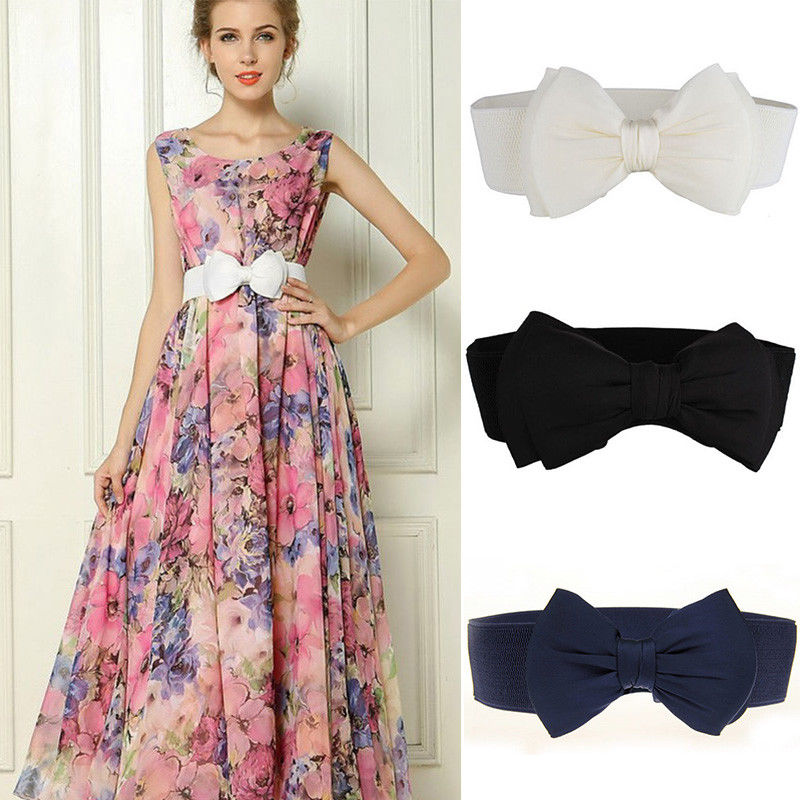 Ladies Stretch Buckle Buckle Waist Belts Bow Wide Elastic Corset Cinch Dress Waistband