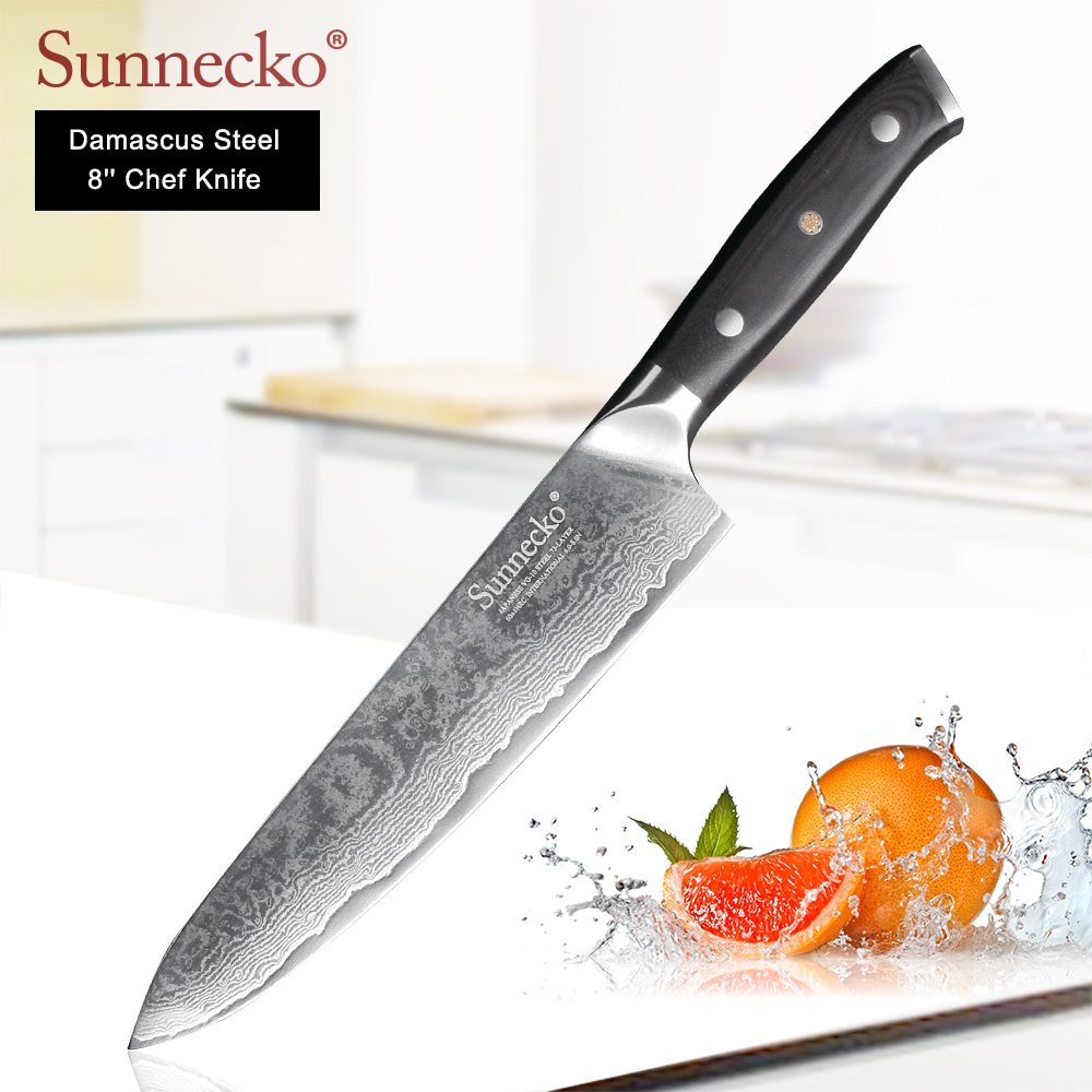 SUNNECKO Professional 8 Chef Knife Damascus Steel Kitchen Knives Japanese VG10 Blade Sanding G10 Handle Sharp