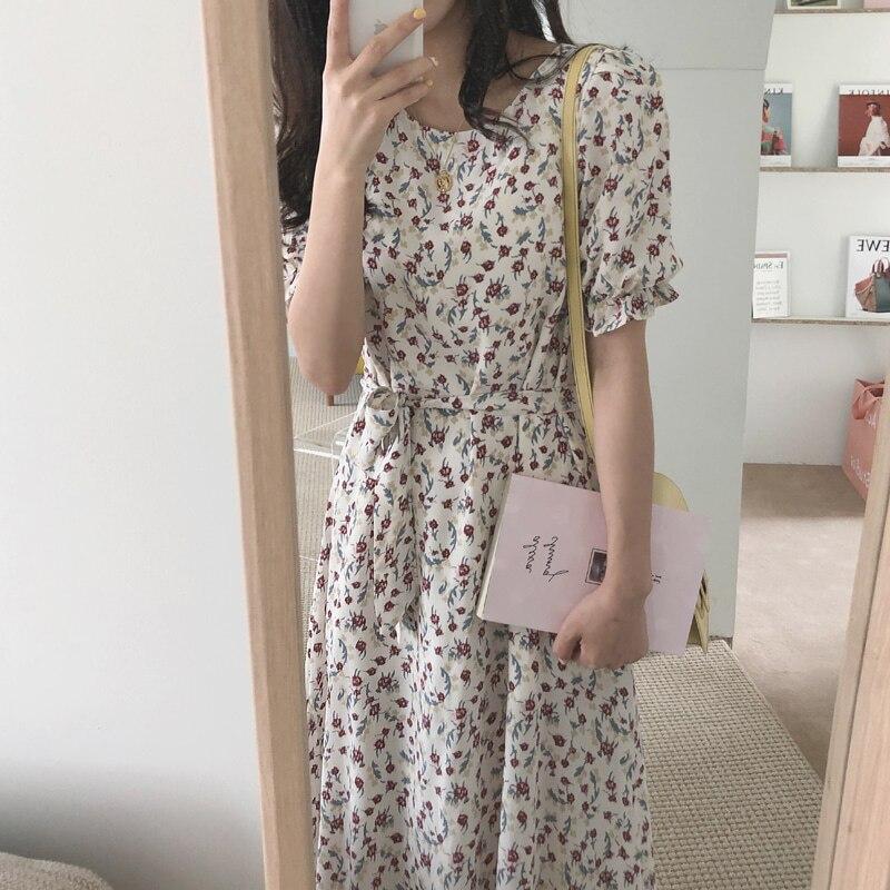 414031604d5 Женское летнее длинное платье с цветочным принтом А-силуэта с коротким  рукавом Vestidos шнуровка Большие размеры облегающее платье Femme Romatic .