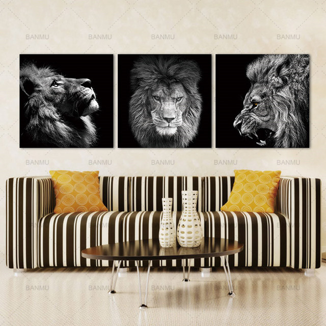 Animal lion art prints Wall Art Pictures Canvas Painting  3