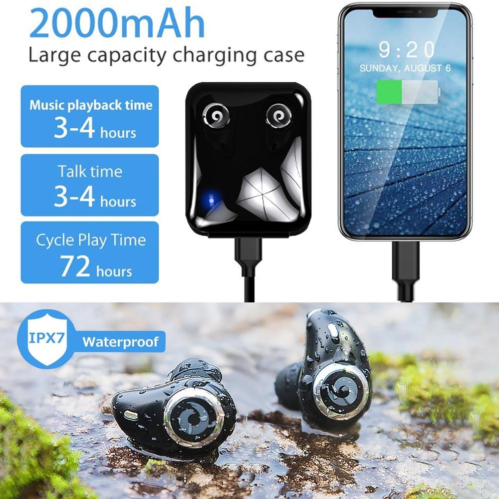 Image 2 - Bluetooth 5.0 Earphone True Wireless EarBuds IPX7 Waterproof Stereo Headset 2000mAh Power Bank Phone Charge For iPhone 6s 7 Sony-in Bluetooth Earphones & Headphones from Consumer Electronics