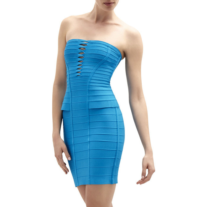 Aqua Strapless Dress Promotion-Shop for Promotional Aqua Strapless ...