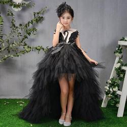 Роскошные платья с цветами для девочек, бальное платье, детское платье для торжеств, платье принцессы с перьями для дня рождения, Y421