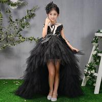 Luxury Trailing Flower Girl Dresses Ball Gown Kids Pageant Dress Birthday Party High end Feather Princess Dress Vestidos Y421