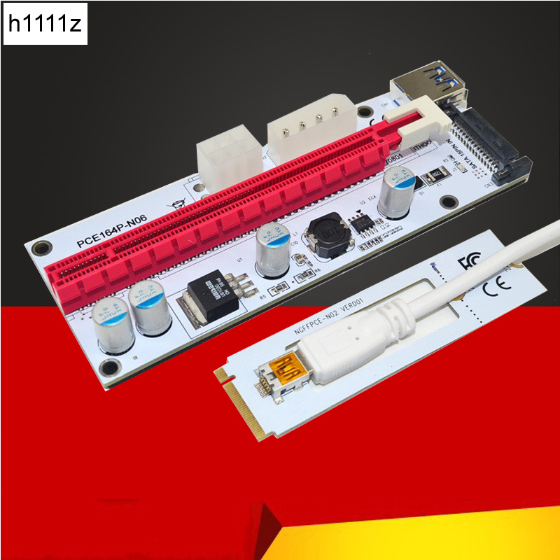 M.2 NGFF to PCI-E X16 Slot Transfer Card Mining m.2 Riser with sata 6pin 4pin molex Riser card raiser for Bitcoin mining