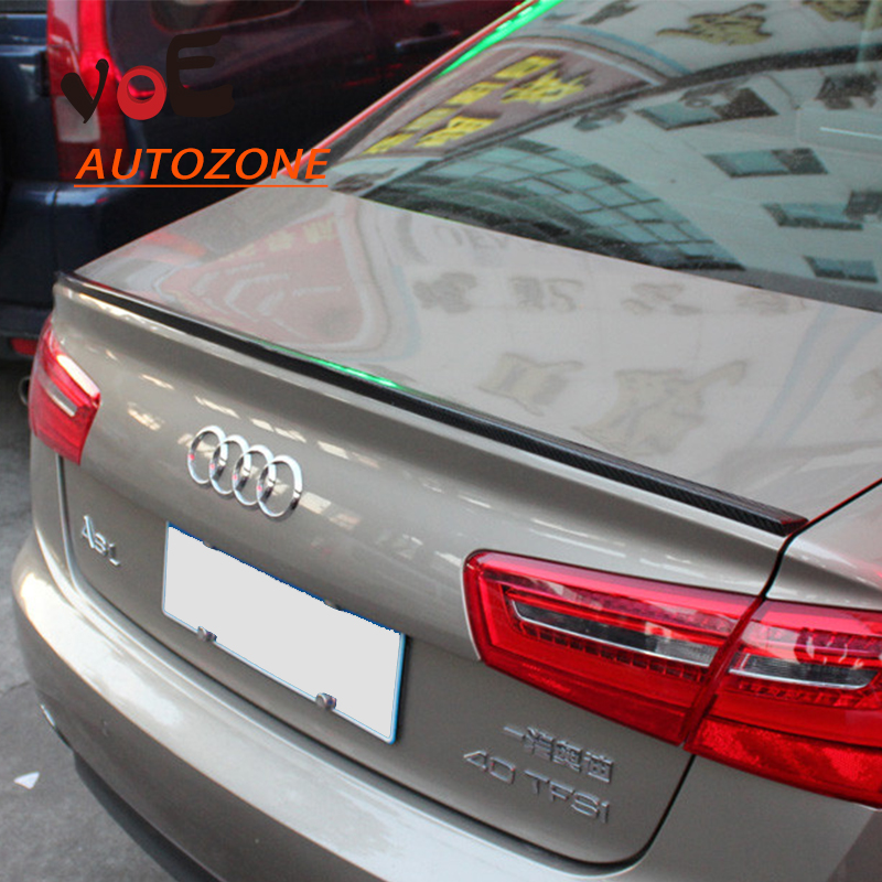 A6 C7 Modified S6 Style Carbon Fiber A6 Auto Car Rear Wing Trunk Spoiler, Rear Trunk Lip Spoiler for Audi A6 Sedan 2012+ pu rear wing spoiler for audi 2010 2011 2012 auto car boot lip wing spoiler unpainted grey primer