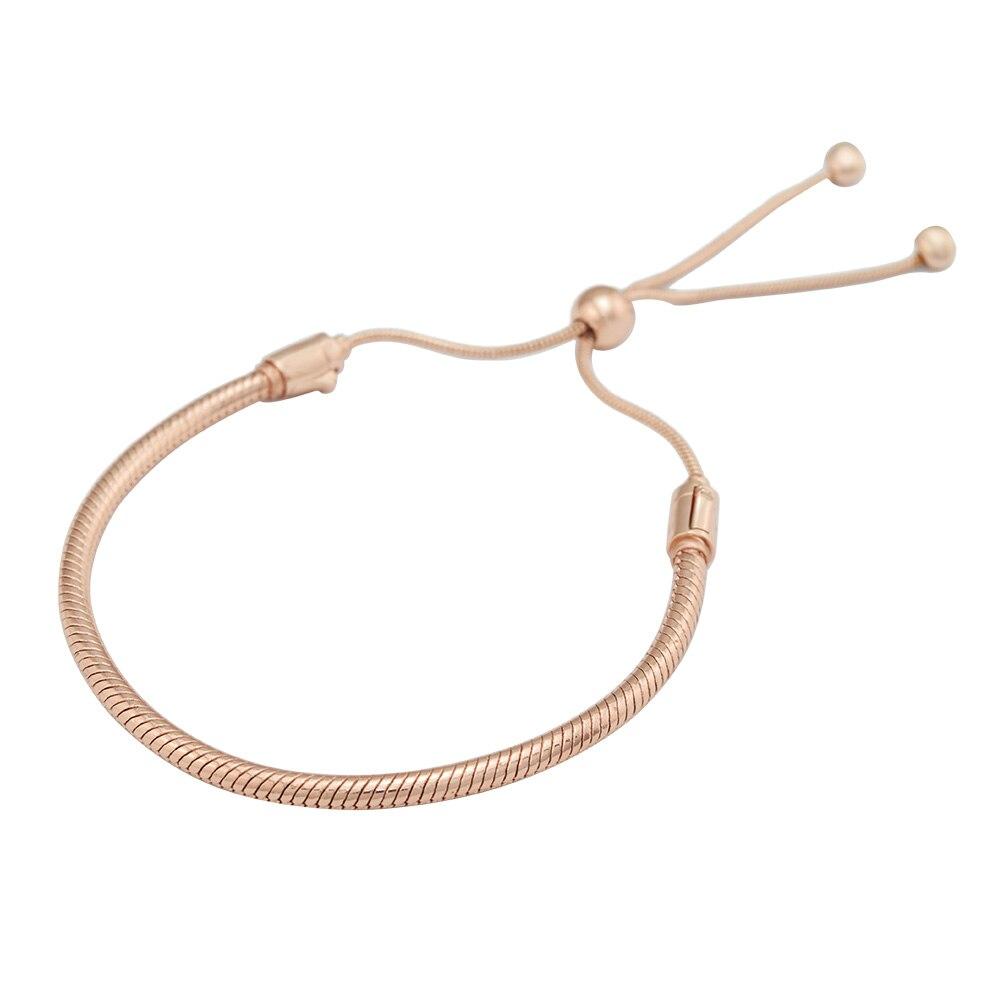 Rose doré Bracelets pour femme coulissante mode bijoux à bricoler soi-même serpent chaîne Bracelets à breloques nouveau argent 925 bijoux femme Bracelets