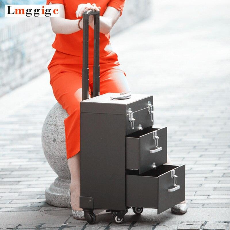 Косметический сумки с колесом, гвозди чемодан для макияжа на колесах прокатки, красота Box Toolbox путешествия чемодан, 20 дюймов кабина чемодан
