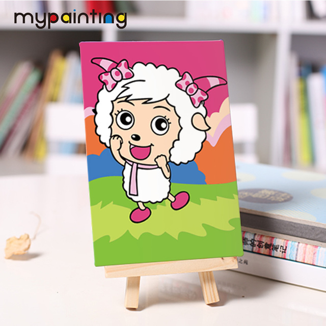 Happy lamb DIY small oil Painting with easel acrylic painting Hand ...